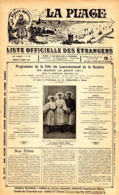 Archives municipales : Le journal la plage (1876-1924) consultable en ligne sur le site de la ville des Sables