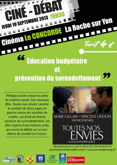 Ciné-débat sur le thème : Éducation budgétaire et prévention du surendettement.le 19 septembre à 19h30