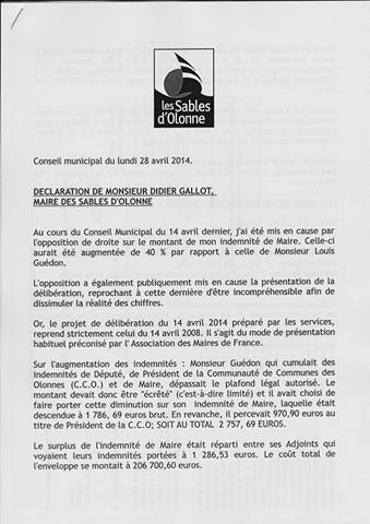 Didier Gallot, Maire des Sables d'Olonne rétablit la vérité hier soir concernant son indemnité de Maire et celles de ses adjoints.