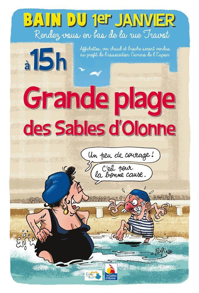 Les Sables d'Olonne: bain du 1° janvier sur la Grande plage