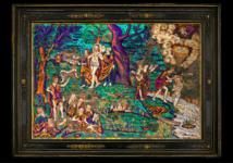 Acquisition d'un rare tableau mexicain du 16e siècle en mosaïque de plumes