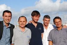 Québéc Saint Malo  :Jean Edouard Criquioche et Louis Duc, Jacques fournier André Jeantet et Lionel.Régnier  pointe à