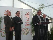 Bruno Retailleau (au milieu) lors de l'inauguration de Trivalis à La Roche-sur-Yon. (Photo Guy-André Coquet)