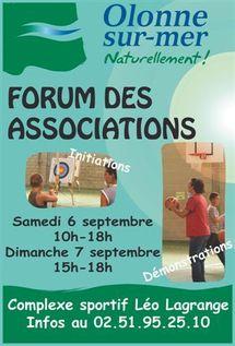 Forum des associations à Olonne-sur-Mer samedi 5 et dimanche 6 septembre