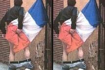 Véronique BESSE qualifie la photo de l'homme utilisant le drapeau français comme papier toilette de honteux et d'inacceptable.