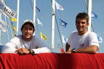 Morgan Lagravière et Frédéric Rivet sur la Solitaire du Figaro 2011