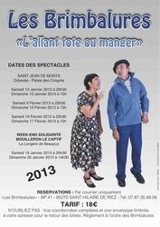 """Les Brimbalures présentent """"L'allant tot au manger !"""" samedi 16  et dimanche 17 Février à Saint-Jean-de-Monts"""