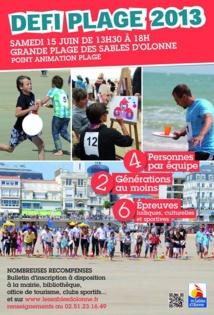 Les sables d'Olonne: 3° édition de Défi plage le samedi 15 juin à partir 13h30
