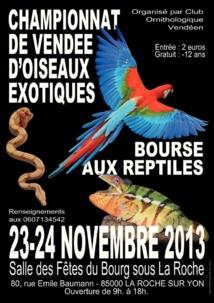 Championnat de Vendée d'Oiseaux exotiques et Bourse aux reptiles à La Roche sur Yon ce dimanche