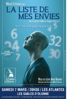 Théâtre avec La Liste de mes envies le samedi 7 mars aux Sables d'Olonne