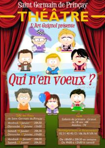 Saint Germain-de-Prinçay: théâtre avec  la troupe de théâtre « l'art guignol » du 8 au 23 janvier