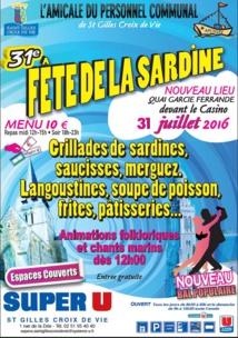 Saint-Gille-Croix-de-Vie  : 31ème édition de la Fête de la Sardine dimanche 31 juillet