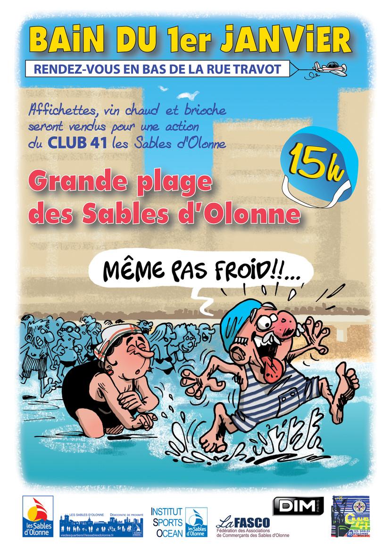 Les Sables d'Olonne: bain du 1° janvier à 15h00