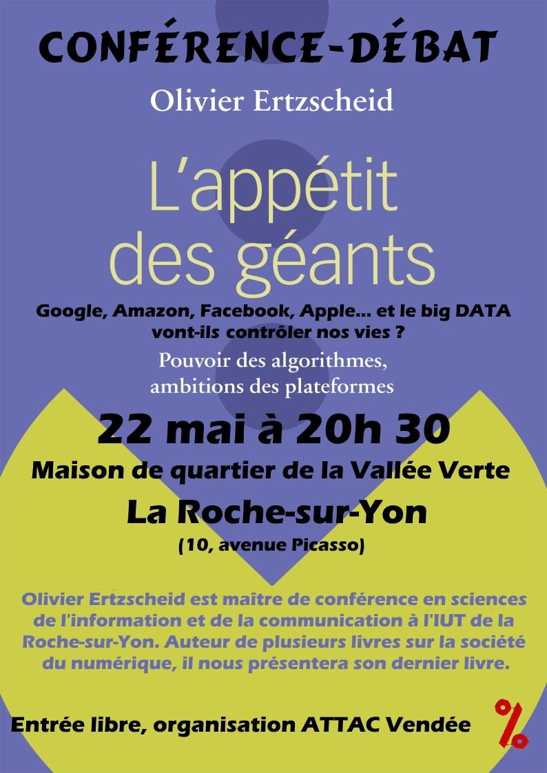 """La Roche-sur-Yon: conférence débat sur """"l'appétit des géants"""" le lundi 22 mai à 20h30"""