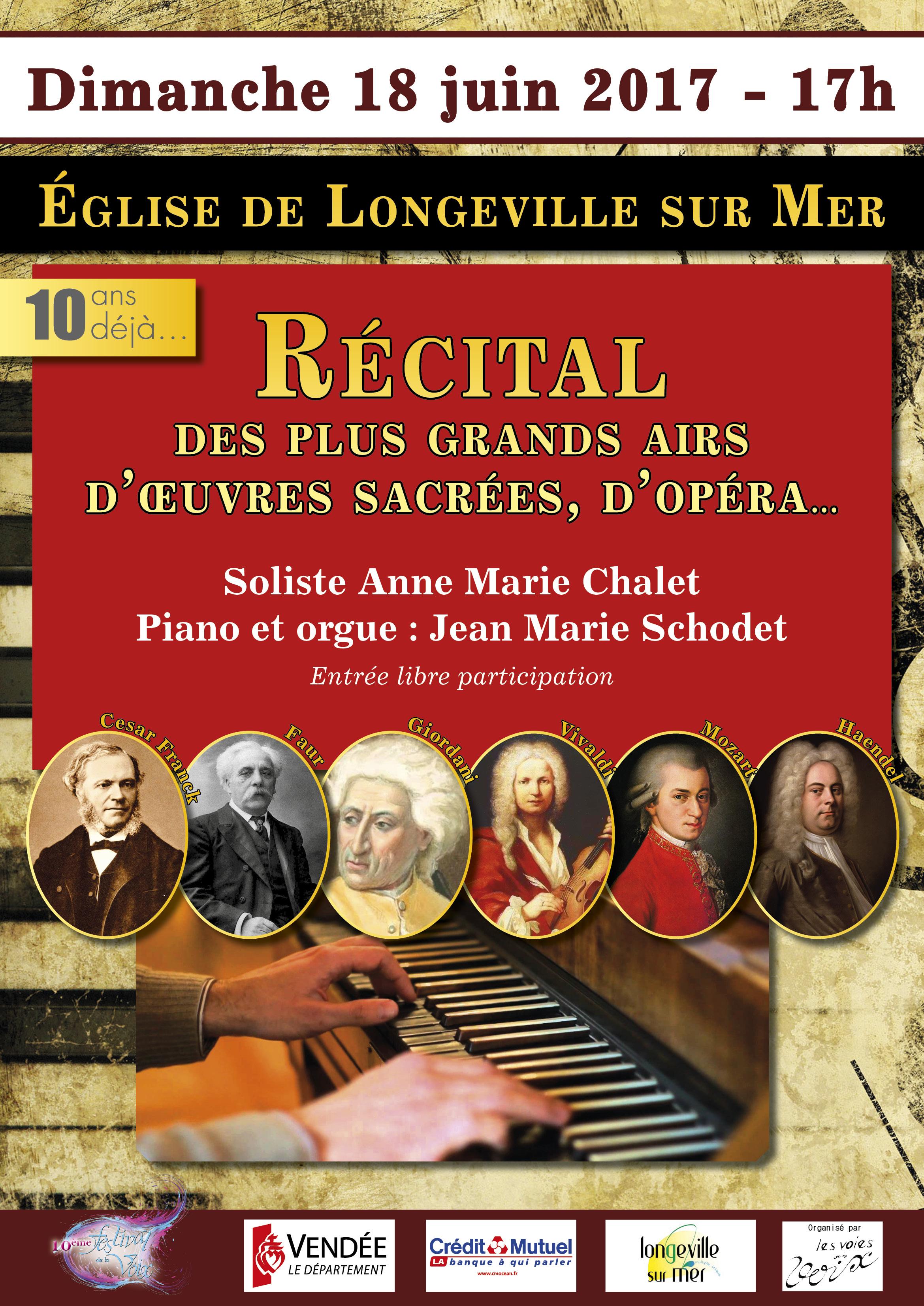 Longeville-sur-Mer: concert de musique classique dimanche 18 juin à 17h00
