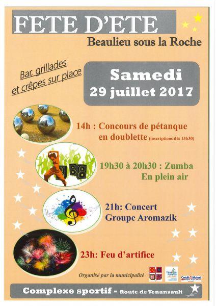 Beaulieu-sous-la-Roche: fête de l'été le samedi 29 juillet à 14h00
