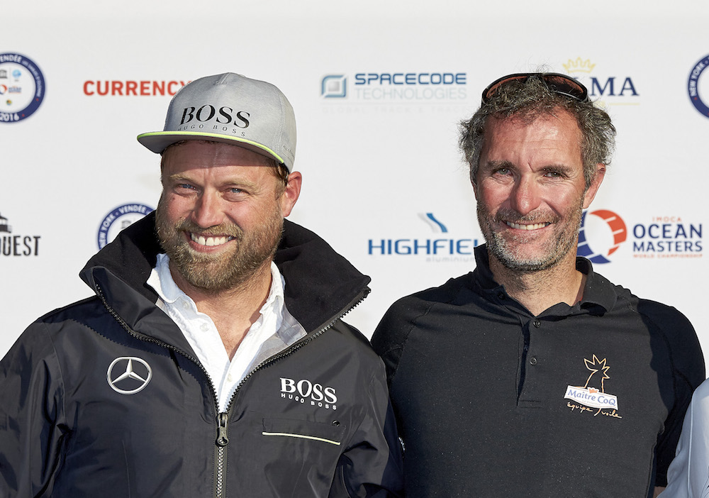 Alex Thomson (Hugo Boss) et Jérémie Beyou (Maitre Coq), 2e et 3e du Championnat IMOCA    (Photo Th.Martinez / Sea & Co)