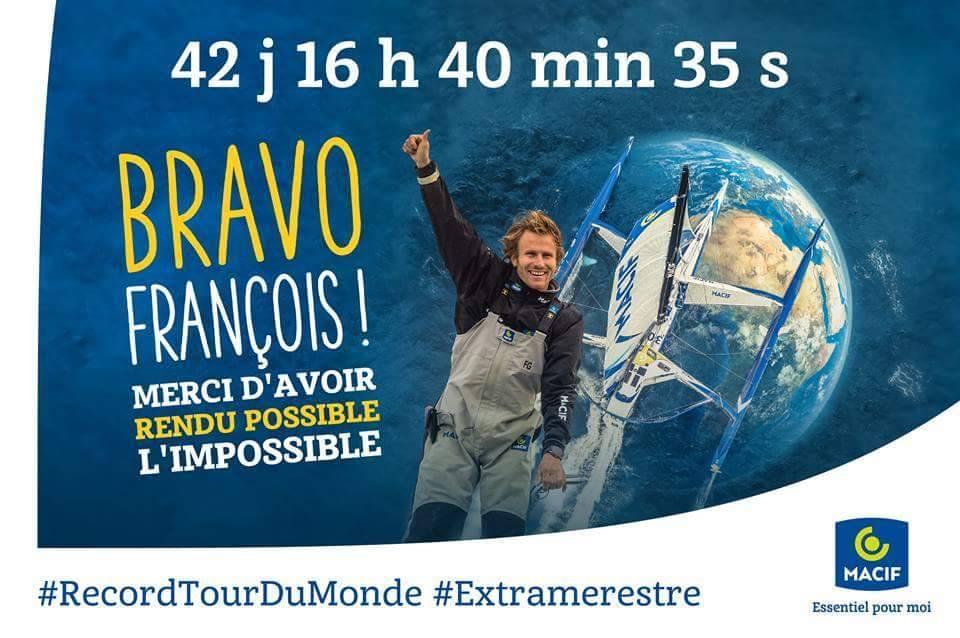 Tour du monde en solitaire à la voile : François Gabart bat le record en 42 jours