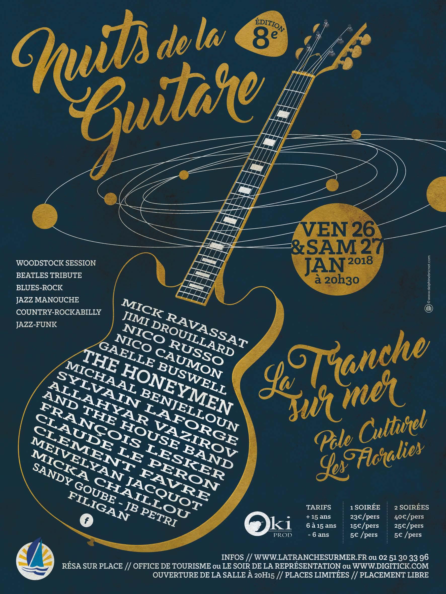 La Tranche-sur-Mer: nuit de la guitare les 26 et 27 janvier à 20h30
