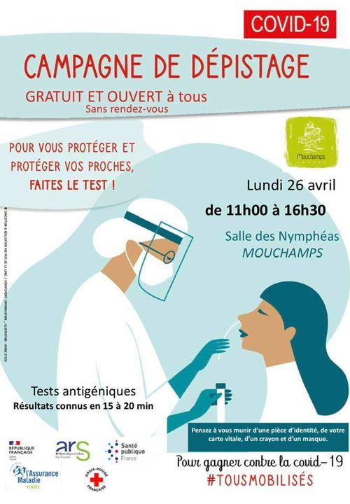 Mouchamps: campagne de dépistage gratuit le lundi 26 avril de 11h00 à 16h30