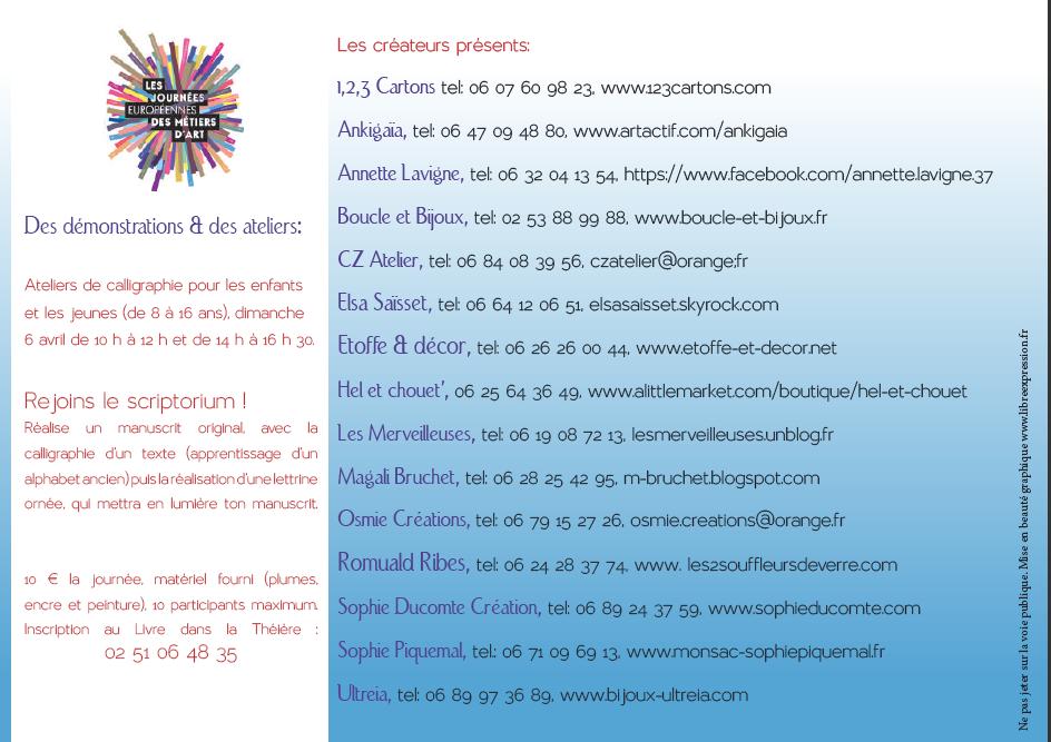 Les 4, 5 et 6 avril 2014 Journées européennes des Métiers d'Art dans le coeur historique de Rocheservière