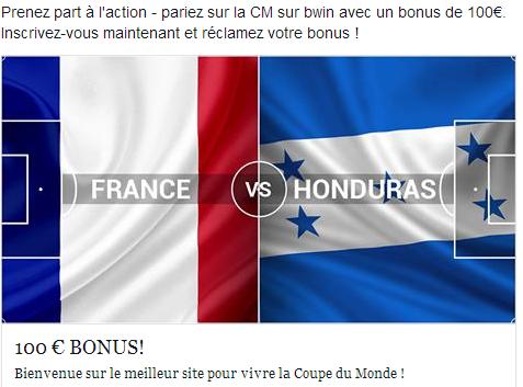 France Honduras ce soir à  partir de 21h00
