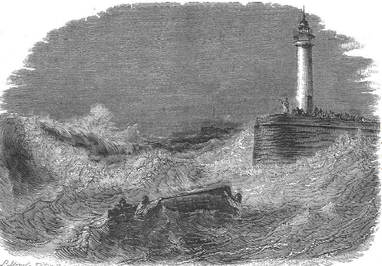 Léon Morel-Fatio (1810-1871), Absolution donnée à des naufragés du haut de la jetée des Sables d'Olonne, L'Illustration, Journal universel, n°192, 31 octobre 1846