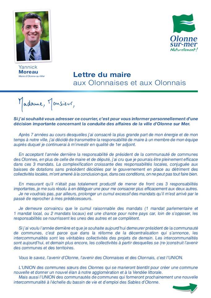 Yannick Moreau quitte son fauteuil de Maire d'Olonne-sur-Mer