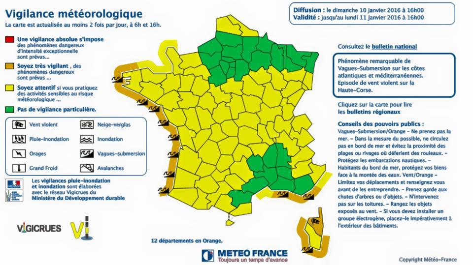La Vendée ainsi que tout le littoral Atlantique passe en vigilance orange vagues-submersion à compter de demain. Soyez prudents.