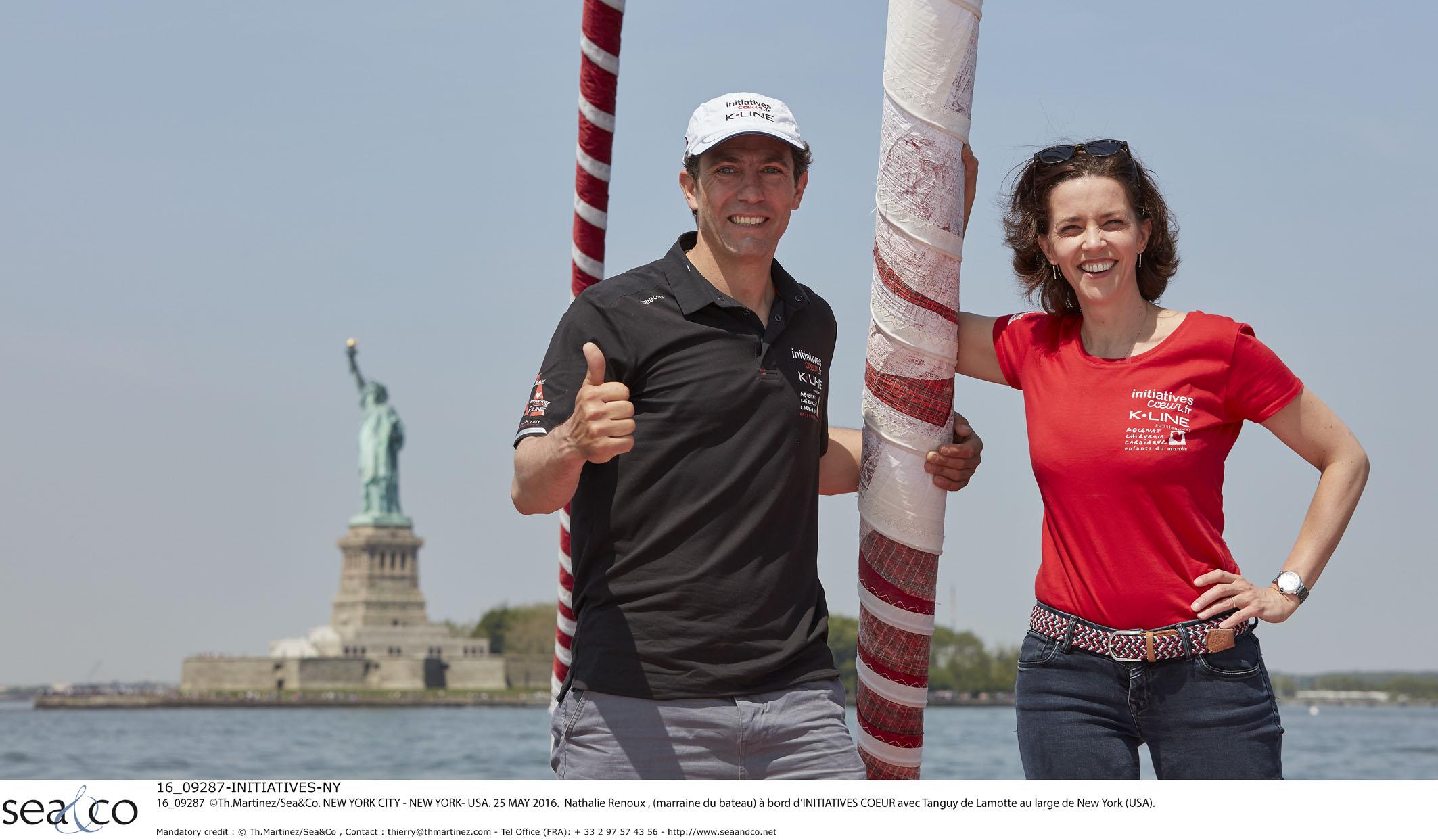 Nathalie Renoux à New-York sur le bateau Initiatives-Cœur