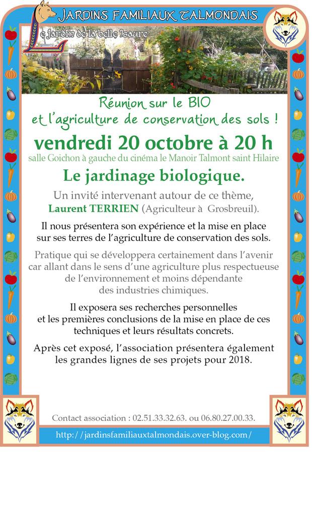 Jardins familiaux talmondais: réunion publique sur le bio