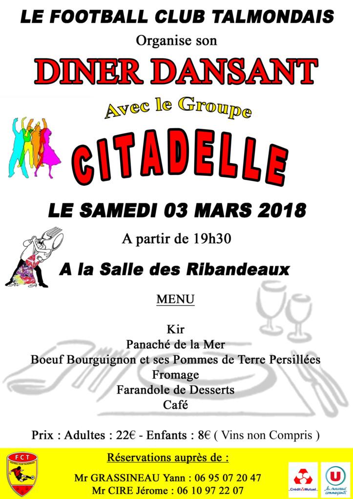 Diner dansant ce samedi 3 mars avec le groupe Cidadelle